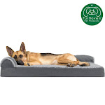 FurHaven Pet Dog Bed   Deluxe Memory Foam Chaise Faux Fur & Suede L-Shaped Lounge Sofa Pet Bed For Dogs & Cats (Stone Gray, Jumbo)