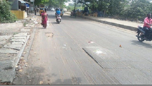 Road milling underway in Perambur.
