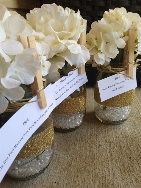 50th Birthday centerpieces, mason jars, twine, glitter