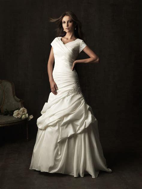A line chapel train taffeta ruched modest wedding dress