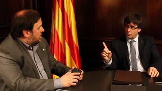 Junqueras ha comparegut després de reunir-se amb Puigdemont al Parlament (ACN)