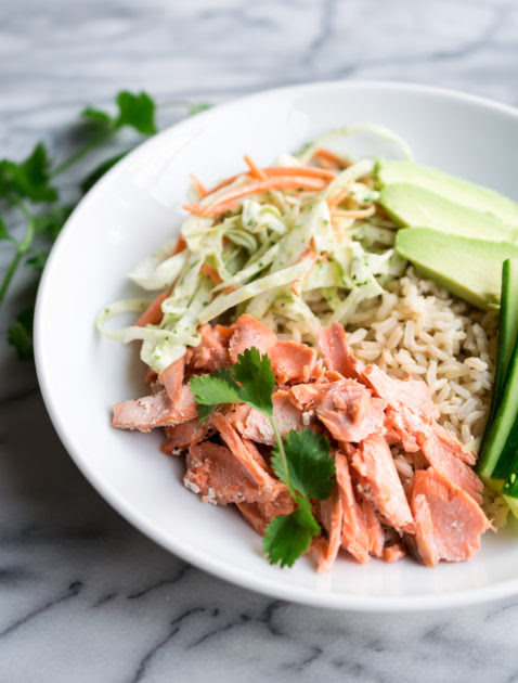 Salmon with Slaw and Cilantro Tahini Dressing - Recipe by Cooks and Kid