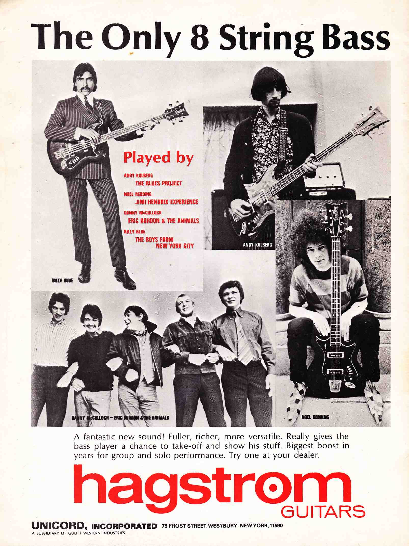 The Unique Guitar Blog Many Guitars Of Jimi Hendrix Stock Epiphone Wiring And 4 Wire Pickup Mylespaulcom It Was Later Used By Noel Redding Seen In Hagstrom Advertisements With Eight String Bass