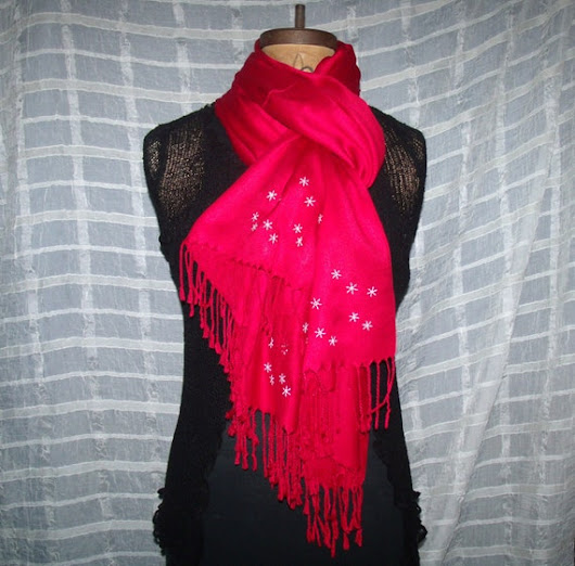 GORGEOUS Red Pashmina 100% Cashmere with by BeachsideEclectibles