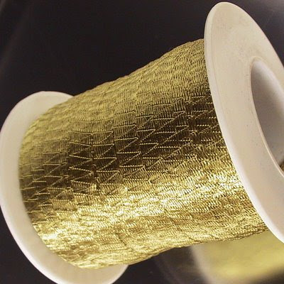 s20436 Stringing - 6 mm Wire Lace Ribbon - Brass (yard)