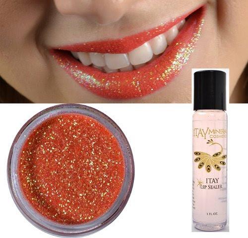 Itay Mineral Cosmetics Glitter Powder Lips Eye Shadow Coral G-18 +Liquid Lip Sealer Sparkle Bond (Glitter Lips Glue)