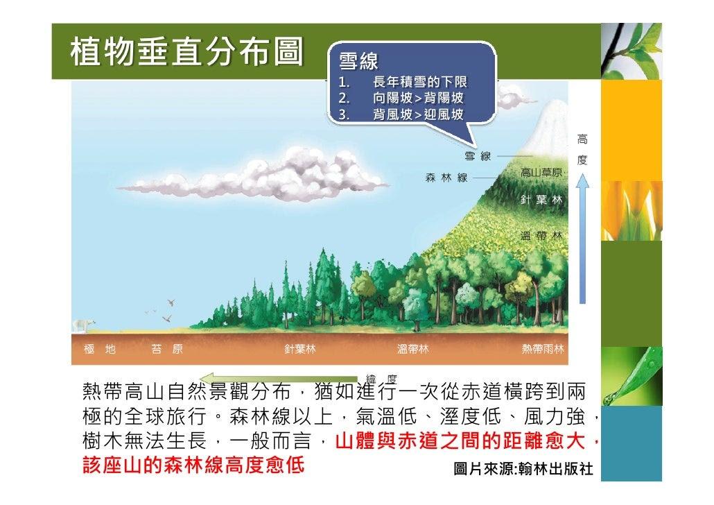 植物垂直分布圖      雪線              1.   長年積雪的下限              2.   向陽坡>背陽坡              3.   背風坡>迎風坡     熱帶高山自然景觀分布,猶如進行一次從赤道橫跨到兩...