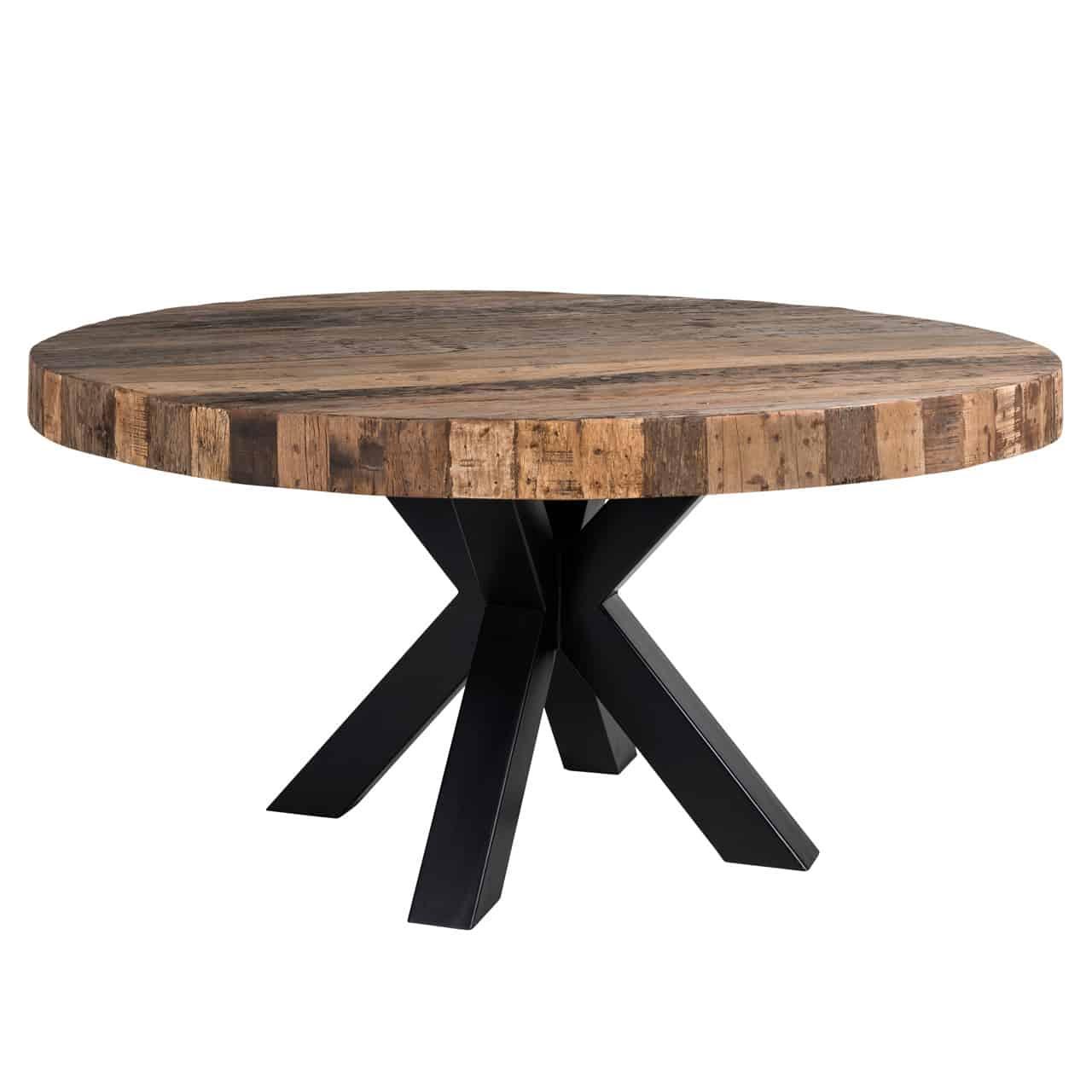Table Ronde Industrielle Pied Acier Noir Plateau Epais Bois Brut