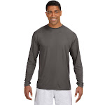 A4 N3165 Odor Resistant Men's Cooling Performance Long Sleeve T-Shirt - Graphite