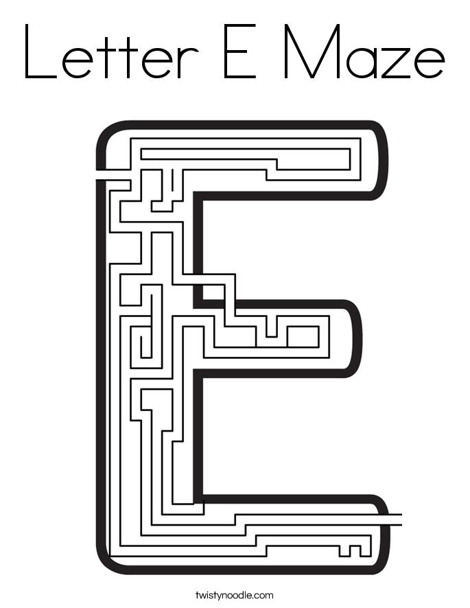 Letter E Maze Coloring Page - Twisty Noodle