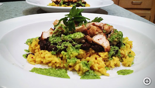 Cuban Chicken Chop, Yellow Rice, Black Beans with Chimichhurri