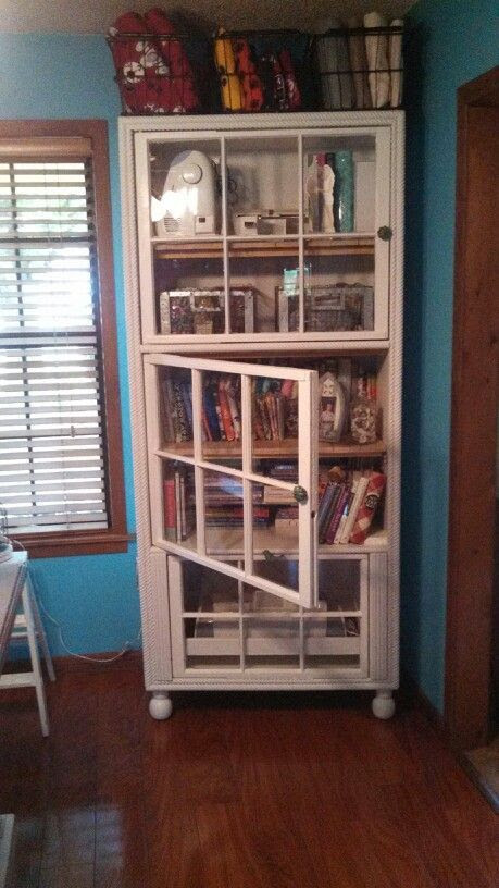 AFTER my storage cabinet used Old Windows for doors