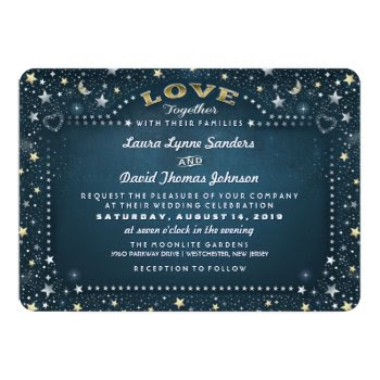 Teal Moon Stars Together With & Reception Info 5x7 Paper Invitation Card by juliea2010 at Zazzle