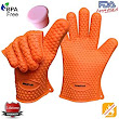 Amazon.com : AmaziPro8 Heat Resistant Silicone BBQ Gloves + FREE Silicone wine plug/lid + FREE 8 Downloadable Recipe/Cooking Books comes with this Kitchen gloves - Cooking Gloves Heat Resistant - One Size Fits Most (Orange) : Patio, Lawn & Garden