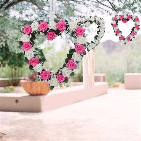 Heart Shaped Rose Hanging Wreath Flowers Garland with Silk