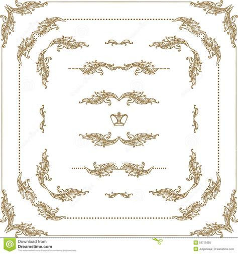 Vector Set Of Gold Decorative Borders, Frame Stock Vector