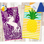 Juvi Beach Towel (Pineapple/Unicorn), Yellow