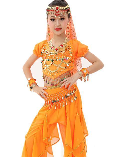belly dance costume kids orange chiffon bollywood indian