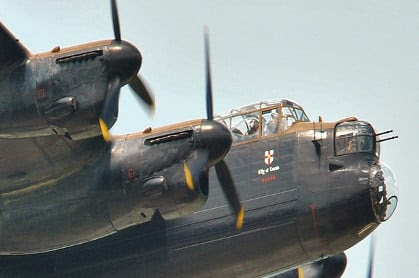 World's only flyable WWII Lancaster bombers meet in Lincs
