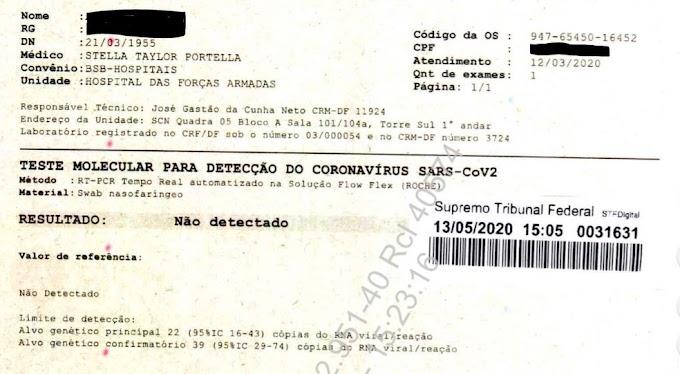 Exames de Bolsonaro entregues ao STF deram negativo para coronavírus, apontam laudos