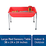 Childrens Factory Large Sensory Table 36 By 24 By 24 Red - Fill With Water Sand Beads And More - Includes Casters For Easy Movement - Made Of Durable