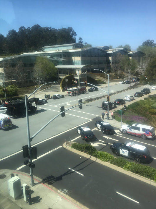 Police respond to an active shooter at YouTube's office in California