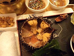Sea urchin dish in a restaurant in Tianjin, China
