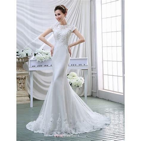 Trumpet/Mermaid Wedding Dress   White Court Train High
