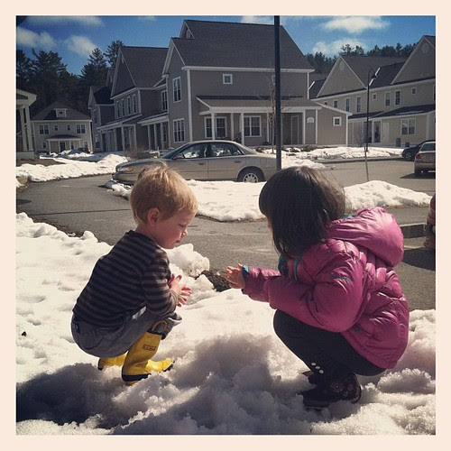 Quinn & a neighbor playing in the melting snow. Yay for sunny outdoor time.