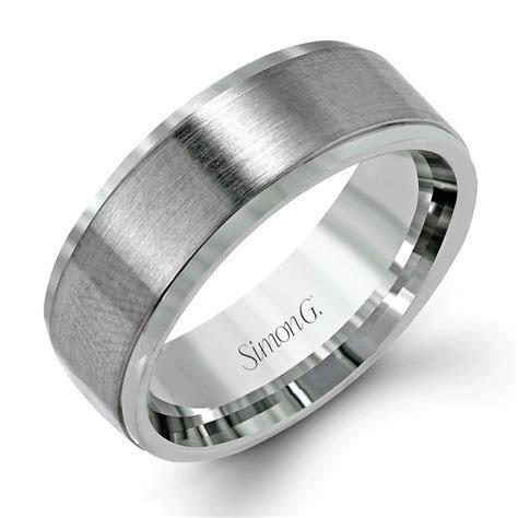 Simon G   Modern Brushed Finish Men's Platinum Wedding
