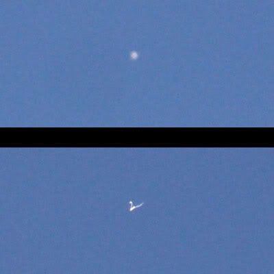 Two photos I took of the International Space Station when it flew over Southern California on March 16, 2009.