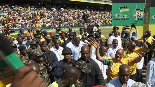 Republic of South Africa President Jacob Zuma arrives to address over 100,000 at the ruling African National Congress centenary celebrations. The ANC is the oldest national liberation movement in Africa. by Pan-African News Wire File Photos