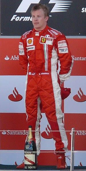 Kimi Raikkonen in SIlverstone Circuit Podium.