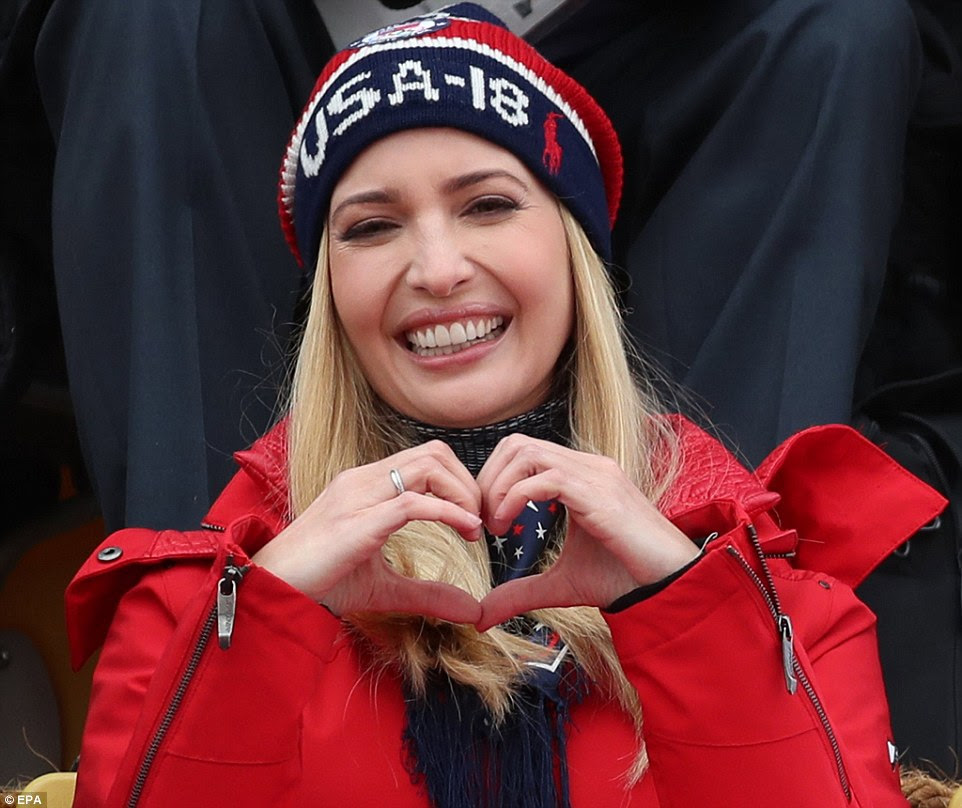 Ivanka Trump flashes a heart for Team USA at the Winter Olympics in PyeongChang, South Korea, on 24 February
