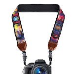 Usa Gear Trueshot Camera Strap With Colorful Neoprene Pattern Accessory Pockets And Quick Release Buckles - Compatible With Canon Fujifilm Nikon Sony