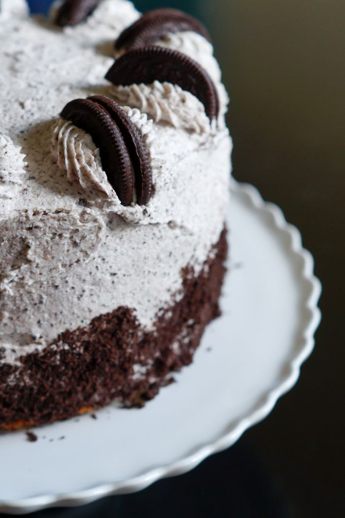 cookies and cream cake with Oreos in the cake and frosting!