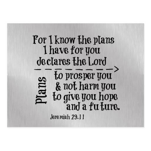 Bible Verse: For I know the Plans I have for you Postcard ...