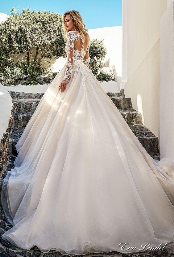 wunderschöne Hochzeit Ballkleid mit langen ärmeln und Spitze illusion zurück mit einer Reihe von Schaltflächen