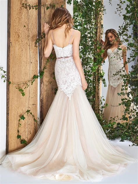Papilio Spaghetti strap mermaid wedding gown with tulle