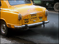 Taxi belches out smoke in Calcutta