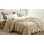 Sanctuary Solid 3 Piece Linen-Cotton Duvet Set Queen Solid Natural Queen