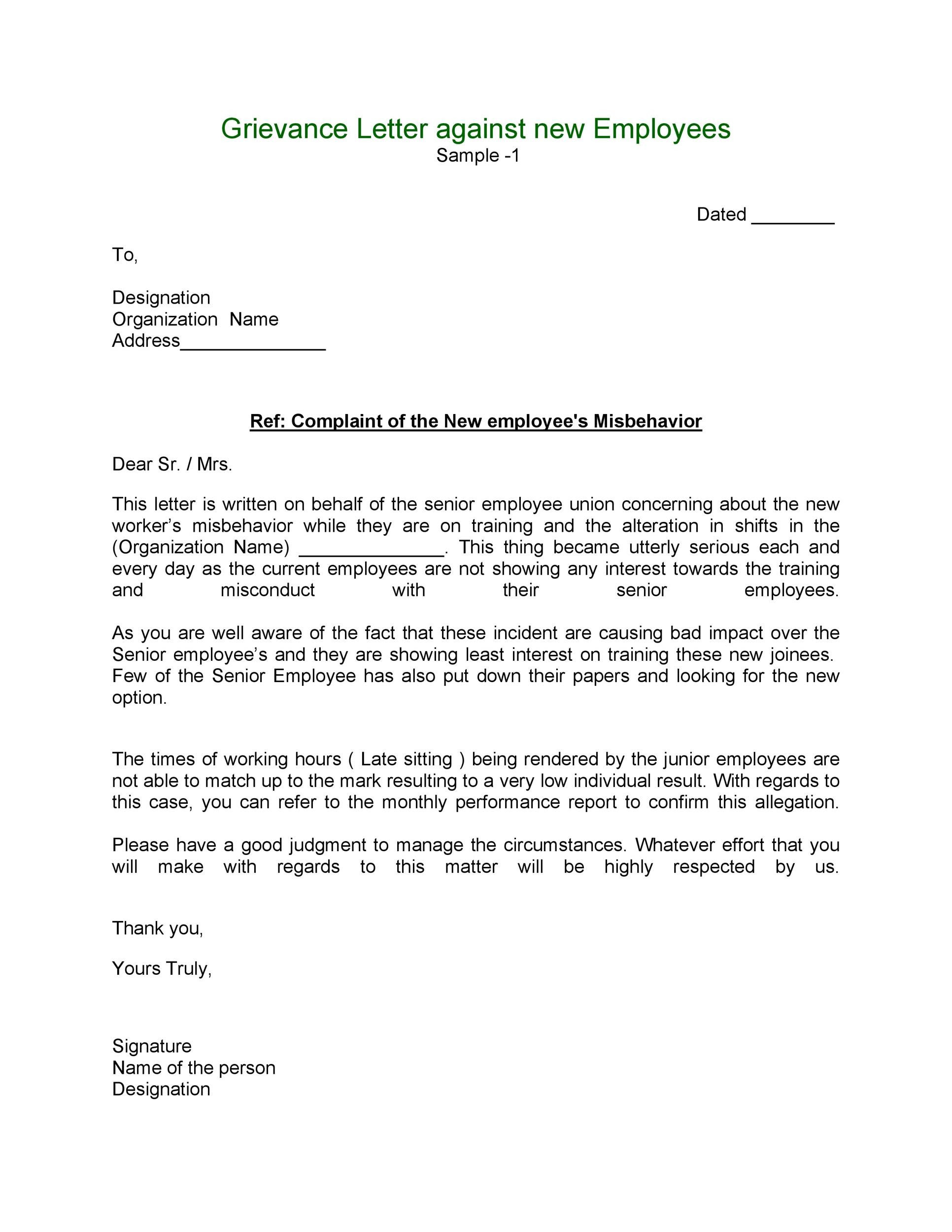 Bullying Examples Of Grievance Letters - bullying