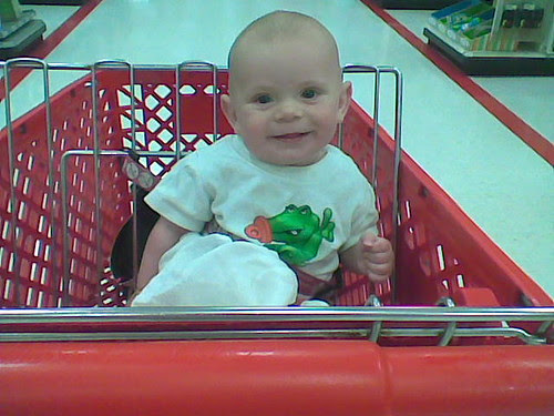 stephen in the shopping cart at target