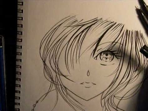 drawing anime girl face inking youtube