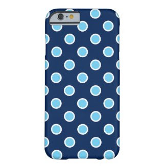 Sky Blue Polka Dots on Dark Blue iPhone 6/6s Case Barely There iPhone 6 Case