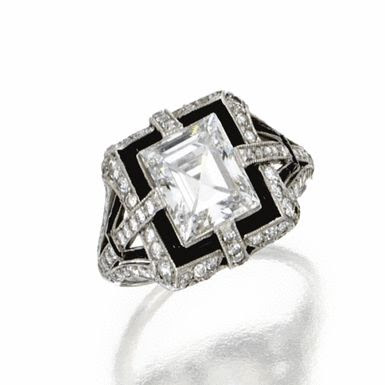 Platinum, Diamond and Onyx Ring, Tiffany & Co., Circa 1925