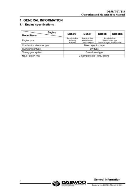 Daewoo doosan db58 diesel engine service repair manual