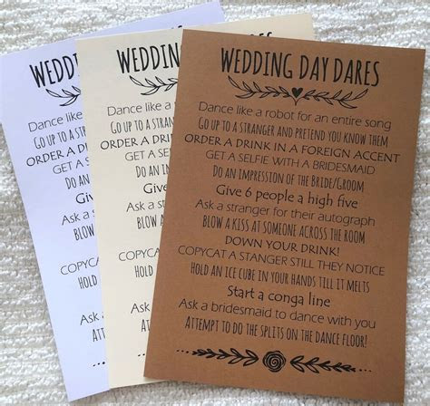 wedding day dares cards wedding games favours table