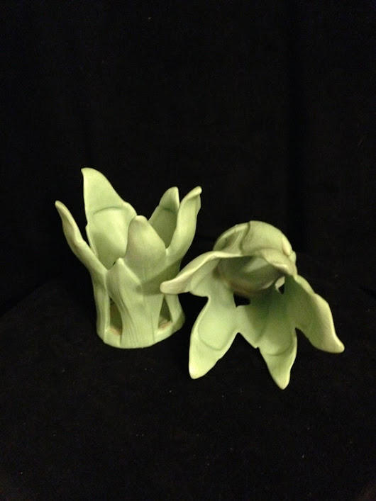 Vintage Candle Decor  Enesco Green Leaf Votive Candle Holders