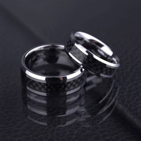 Carbon Fiber Inlaid Tungsten Wedding Bands Sets for Men